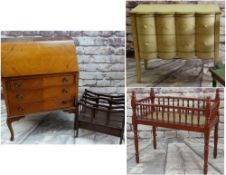 PAINTED TWO-DRAWER BEDROOM CHEST, together with three-drawer walnut chest, Chinese hardwood and