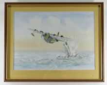 G. GARLAND watercolour - Sunderland Bomber attacking submarine with depth charge, 25.5 x 35.5cms