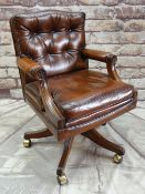 'REPRODUX' GEORGIAN-STYLE LEATHER DESK CHAIR, button upholstered in brown leather