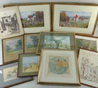 ASSORTED WATERCOLOURS & DRAWINGS, including cartoon of a boy net fishing by G E Shepheard, several