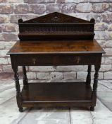 ANTIQUE OAK SIDE TABLE, later shelved back and moulded top, fitted two frieze drawers, scalloped