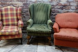 THREE EASY ARMCHAIRS, including a Howard-style chair with Laura Ashley checkered upholstery and