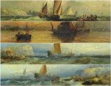 WILLIAM HENRY WILLIAMSON (1820-1883) oils on canvas - Fishing boats in rough seas, and in calm water