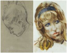 TWO WORKS BY EDWIN JOHN (1905-1978) comprising watercolour of a head of a young woman, signed &