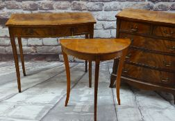 THREE ITEMS OF REPRODUCTION OCCASIONAL FURNITURE, comprising small 'Reprodux' yew demilune side