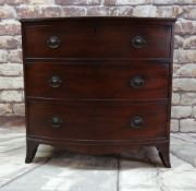 LATE REGENCY MAHOGANY CROSSBANDED BOWFRONT CHEST, red moulded top above three graduated long