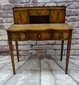 REPRODUCTION MAHOGANY BONHEUR DU JOUR, with cupboard and drawer superstructure, leather inset
