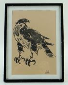 FACSIMILE PRINT AFTER SIR KYFFIN WILLIAMS, Falcon, initialed in the print, 21.5 x 15cms