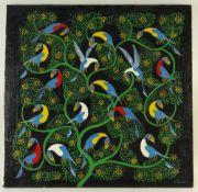 TINGATINGA SCHOOL acrylic on canvas - Birds in Branches, bears signature 'Saidi', 57 x 59cms