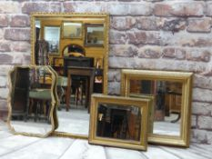 FOUR ASSORTED DECORATIVE MIRRORS, three with rectangular frames, one with shaped shell moulded