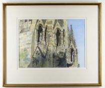 GRAHAM BROOKS pen, ink and watercolour - Pritchard Tower, Llandaff Cathedral, external detail,