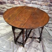 19TH CENTURY OAK GATELEG TABLE, oval drop flap top above a later end frieze drawer on nicely