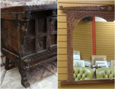 INDIAN CARVED HARDWOOD DOWRY CHEST OR DAMCHIYA, prabably Gujarat, foliate carved panelled front with