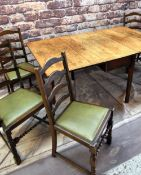 ANTIQUE OAK DROP FLAP TABLE & SET DINING CHAIRS, table with gateleg action, 165 x 98cms; the six