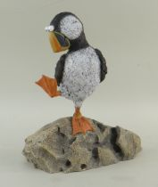 REBECCA LARDNER limited edition (250/495) cold cast sculpture - 'Rock Star', puffin on a rock, 26.