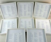 SET FRAMED FRENCH POETRY, modern blue-printed text in white box frames, frames 31 x 47cms (8)