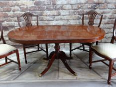 MODERN STAG GEORGIAN -STYLE MAHOGANY CROSSBANDED PEDESTAL DINING TABLE & FOUR SHIELD-BACK DINING