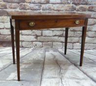 19TH CENTURY BOXWOOD STRUNG MAHOGANY TEA TABLE, rectangular foldover top above frieze drawer,