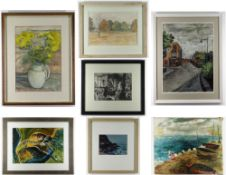 GROUP OF SEVEN PAINTINGS from the collection of Welsh artist, the late Glyn Griffiths, two sketches,