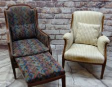 TWO EDWARDIAN MAHOGANY & BOXWOOD STRUNG ARMCHAIRS, one with concealed foldout footstool (2)