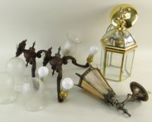 ASSORTED LIGHTING, including pair two-branch wall lights, small hexagonal hall lantern, opaque glass