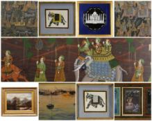 ASSORTED MODERN MUGHAL SCHOOL & OTHER PAINTINGS, comprising six gouache on linen - depicting
