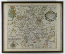 CHRISTOPHER SAXTON & WILLIAM HOLE antiquarian coloured map of Worcestershire from Camden's