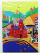 CHRISTOPHER LANGLEY ink on canvas and board - entitled verso 'Montage of Cardiff', signed and