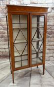 EDWARDIAN MARQUETRY & SATINWOOD CROSSBANDED CHINA CABINET, bellflower inlaid frieze above astragal