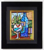 ROMERO BRITTO diamond dust and oil pen on digital canvas print - entitled 'Love Wine', signed,