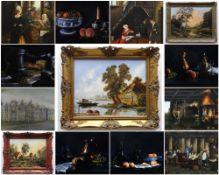 ASSORTED FURNISHING PICTURES, including five still lives on velvet, seven Dutch-style genre