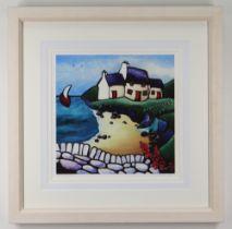 HELEN ELLIOTT limited edition (15/195) giclee on cotton canvas - 'Secret Beach', entitled verso,