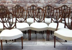 GOOD SET OF FOURTEEN 20TH CENTURY SHIELD-BACK DINING CHAIRS, with fan, acanthus and sunflower