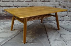 ERCOL GOLDEN ELM COFFEE TABLE, with spindle under tier, blue label, 70 x 99cms