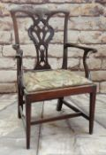 CHIPPENDALE-STYLE CARVED MAHOGANY CHILD'S ARMCHAIR, pierced and carved splat, needlepoint