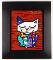 ROMERO BRITTO acrylic paint and oil pen on digital print canvas - entitled 'Little Cat', signed,