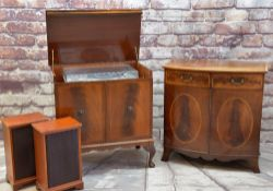 AUDIO VISUAL CABINET FURNITURE, including Georgian-style mahogany and rosewood crossbanded