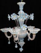 MODERN ITALIAN GLASS FIVE-LIGHT CHANDELIER, probably Murano, latticino blue and opaque white glass