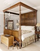 REPRODUCTION GEORGIAN-STYLE MAHOGANY TESTER OR 'FOUR POSTER' BED, dentil canopy above panelled