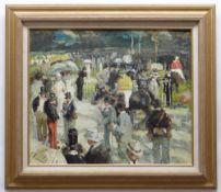 AFTER HENRI-JULIEN DUMONT oil on canvas - Paddock at Longchamps, 49 x 60cms