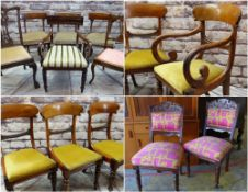 ASSORTED ANTIQUE DINING CHAIRS including set of four Victorian chairs, pair Valentino-style