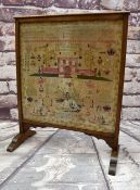 MID-VICTORIAN WELSH NEEDLEWORK SAMPLER, Carmarthenshire, by Elinor Thomas and dated 1864, in oak