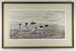 LEON DANCHIN (1887-1939) etching with colour - Pointers, signed in pencil, 33 x 65cms