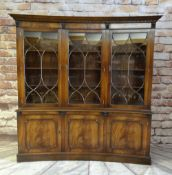 'REPRODUX' MAHOGANY CONCAVE FRONT BOOKCASE, dentil cornice with acanthus corbels, triple glazed
