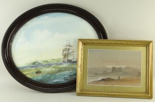 TWO PAINTINGS DEPICTING SWANSEA comprising oval watercolour depicting ships and Mumbles
