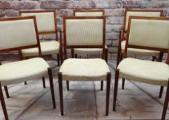 SET OF SIX MID-CENTURY SWEDISH SVEGARDS MARKAYRD DINING CHAIRS with pale gold woven stuff-over seats