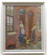 MARGARET GUMUCHIAN (1927-1996) oil on canvas - street scene with ladies conversing beside child