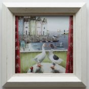 REBECCA LARDNER limited edition (30/195) giclee print on canvas board - entitled verso 'Home Birds',