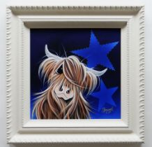 JENNIFER HOGWOOD embellished limited edition (21/195) giclee print canvas board - entitled verso '
