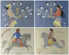 HARRISON BEGAY (1858-1933) four screen prints - male and female Navajo feather dancers, 30 x